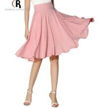 Midi Skirt 2017 Summer Women Clothing High Waist Pleated A Line Skater Vintage Casual Knee Length Saia Petticoat
