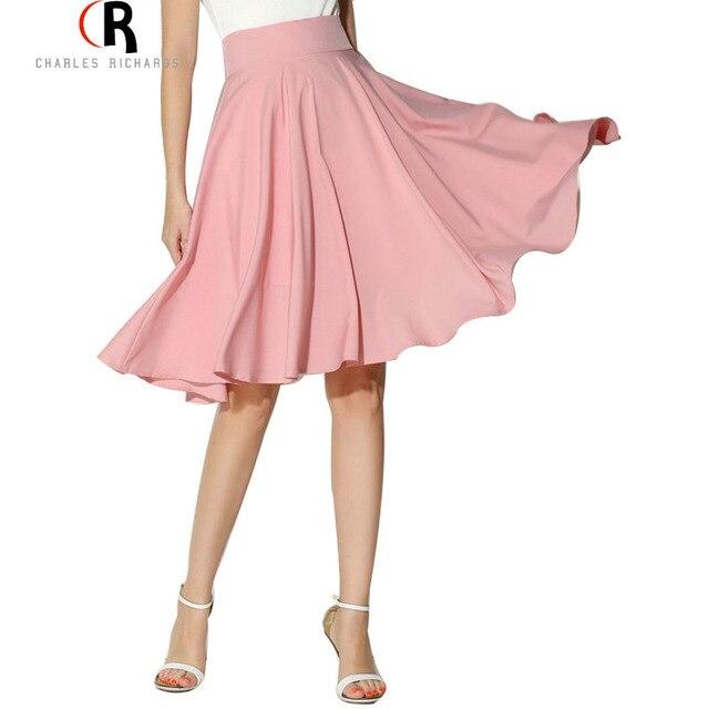 Midi falda 2017 mujeres del verano de la ropa de cintura alta plisada un line skater petticoat vintage longitud de la rodilla casual saia