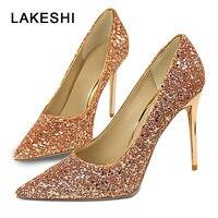 LAKESHI Для женщин насосы Bling пикантные туфли на высоком каблуке свадебные туфли женская обувь Острый носок красное золото
