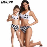 panda bear mother daughter matching clothes for mommy and me swimsuit mom girl swimwear family look outfits plaid fashion bikini