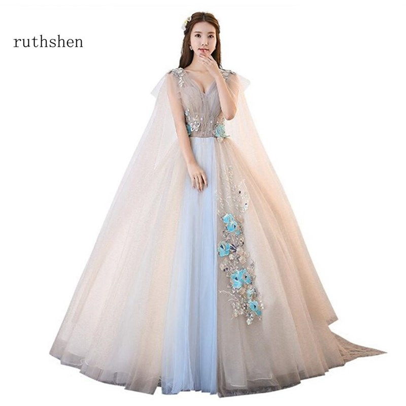 ruthshen 2018 Sexy Long   Prom     Dresses   Luxury Beaded Flowers Ball Gown With Appliques Vestido Longo Women Sexy Formal Evening Gown