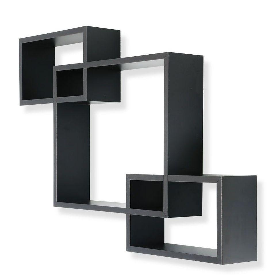 3 Cubes Boites Entrecroisees Etagere Murale Maison Deco Rangement Mural Etageres Noir Aliexpress