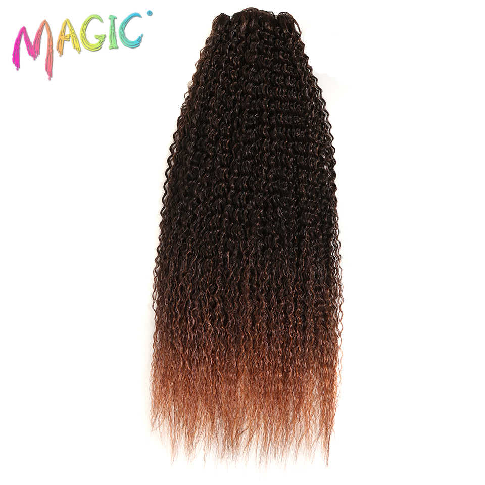 "Magic Kinky Curly 28-36""inch Ombre Color Synthetic Hair weaving 120g/pcs Curly Hair Weft High Temperature Fiber Hair Extensions"