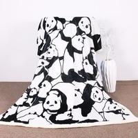 Sherpa Blanket Throw Blankets Black and White Cute Pandas Bed Blankets Crystal Velvet Fleece Sherpa TV Blanket
