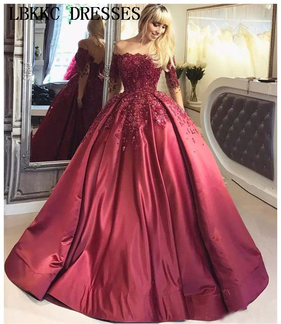 Burgundy Off The Shoulder   Prom     Dresses   2019 Ball Gown Long Sleeves Evening   Dress   Satin Appliques Beaded Elegant Formal   Dresses