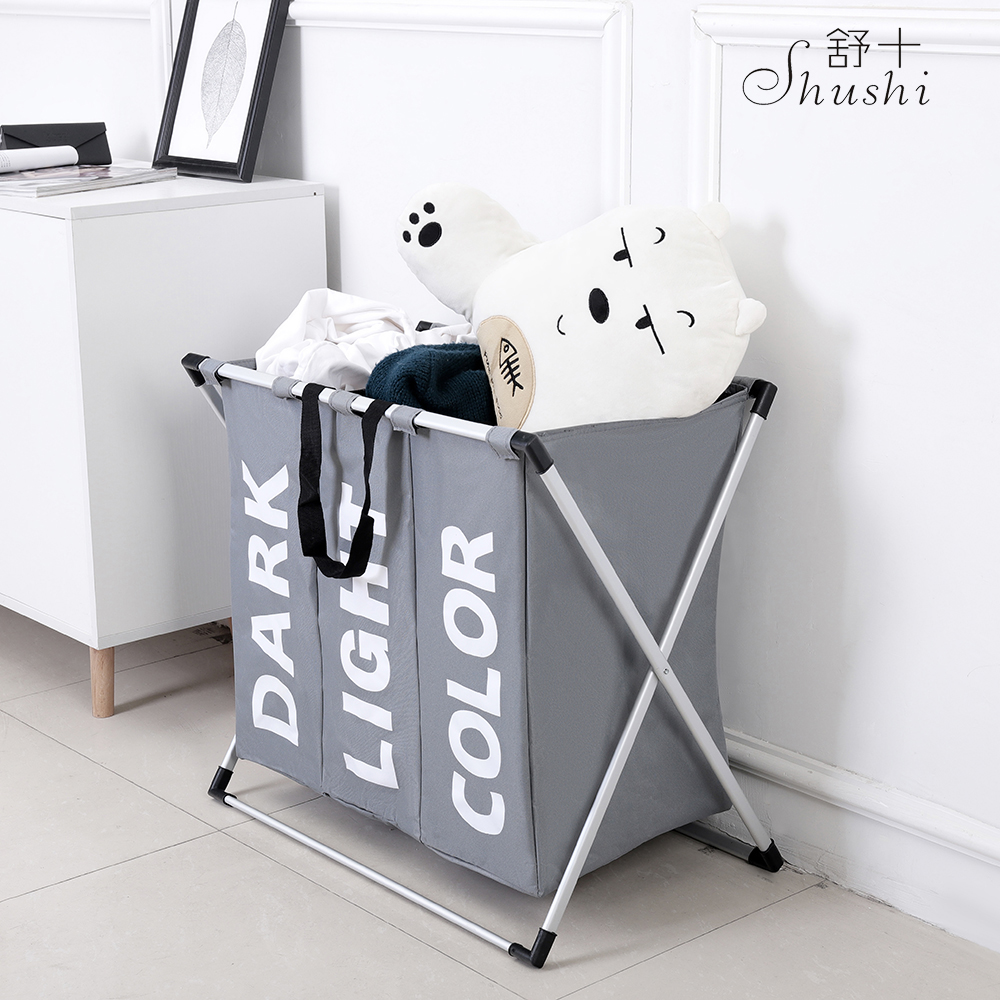 SHUSHI hot waterproof folding home laundry basket oxford three grid laundry organizer bag large collapsible metal laundry hamper in Storage Baskets from Home Garden