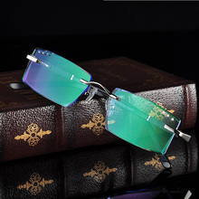 New 8305 Rimless Diamond Eyeglasses Frame for Men Eyewear Fashion Cutting Glasses Spectacles