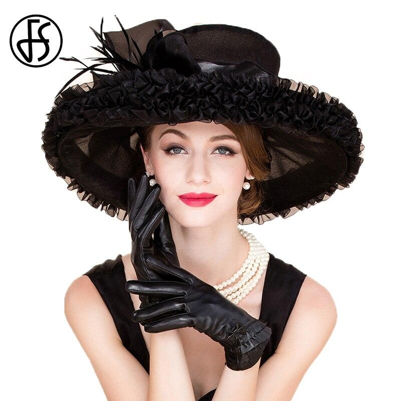 FS Elegant Organza Church Dresses Hats For Women Wedding Formal Large Wide Brim Fedoras Bowknot Kentucky Derby Tea Party Hat