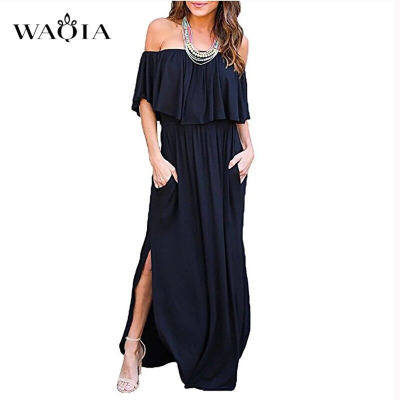 Waqia Boho Стиль длинное платье Для женщин топ с открытыми плечами летние платья с однотонными оборками Винтаж белый Maxi dress Vestidos de festa
