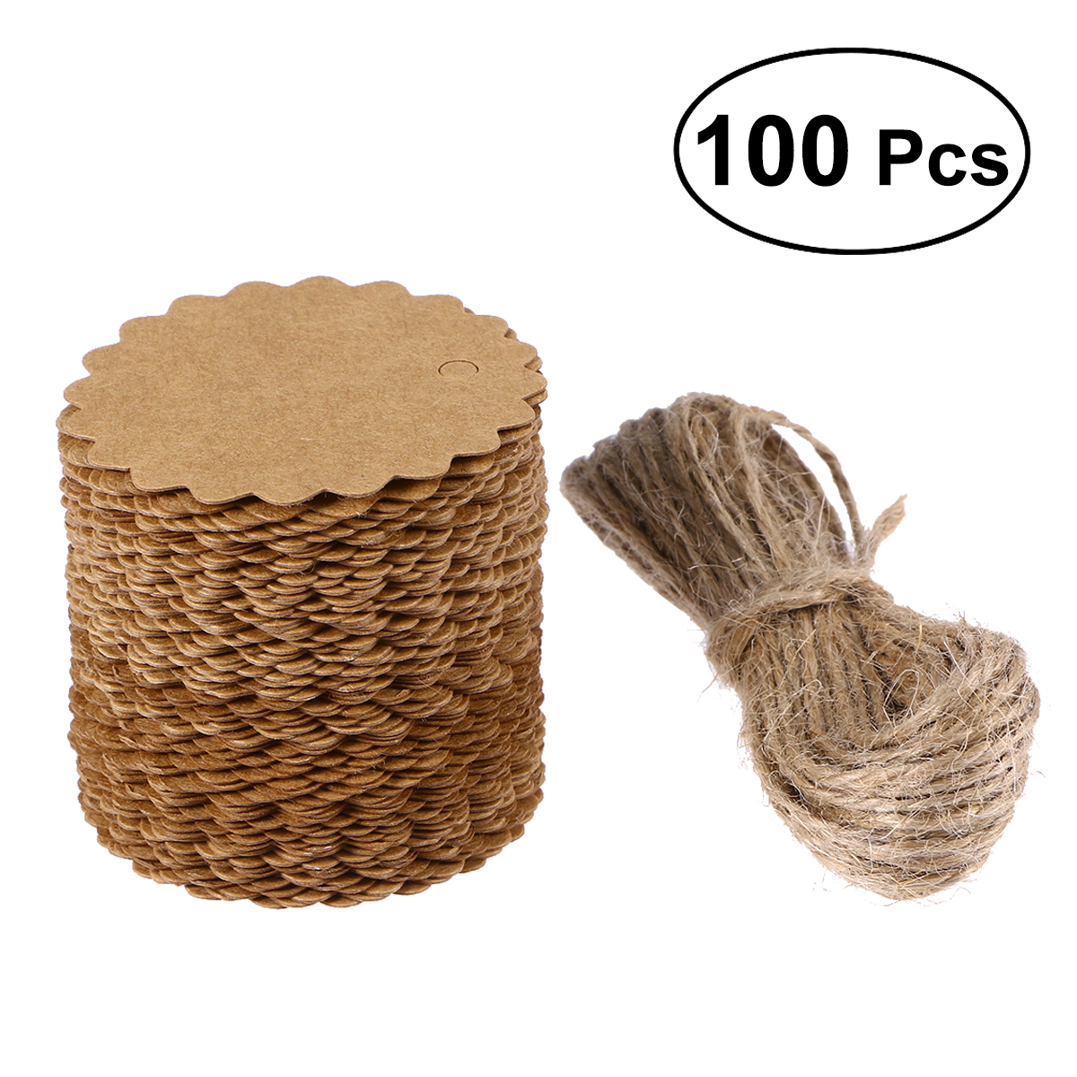 100pcs Rustic Kraft Paper Heart Blank Card with Jute Twines Gift Tags Labels