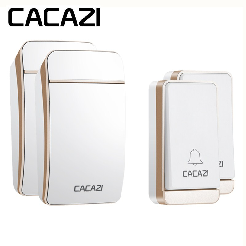 лучшая цена CACAZI AC 110-240V New Smart Self Powered Doorbell Wireless No Battery Waterproof Home Cordless 200M Remote Control 38 Songs