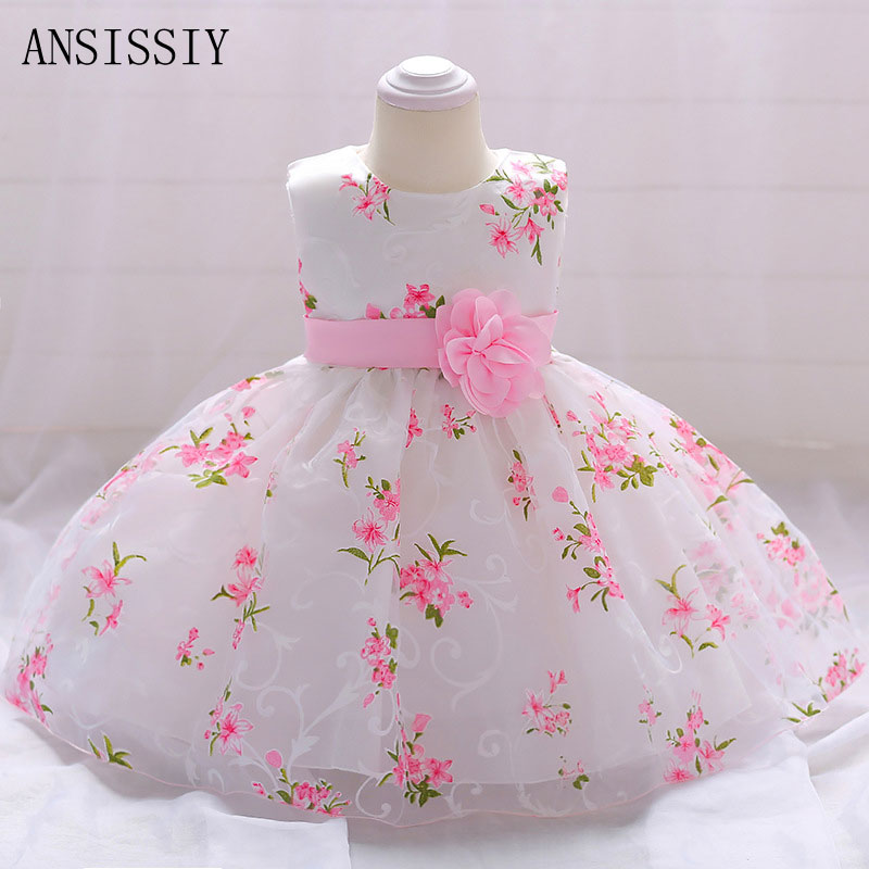 Wedding Party Flower Baby Girl 1 Year Birthday Dress Kids Clothes Girl Infant Baptism Christening Gowns Mesh Fantasia Vestido flower girls dresses for party and wedding little baby 1 year birthday baptism dress kids floral lace vestido infant bow clothes