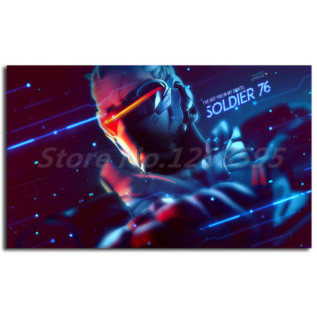US $5 7 5% OFF|Soldier 76 Overwatchs HD Wallpaper Art Canvas Poster  Painting Wall Picture Print Oil Painting Home Bedroom Decoration No  Frame-in