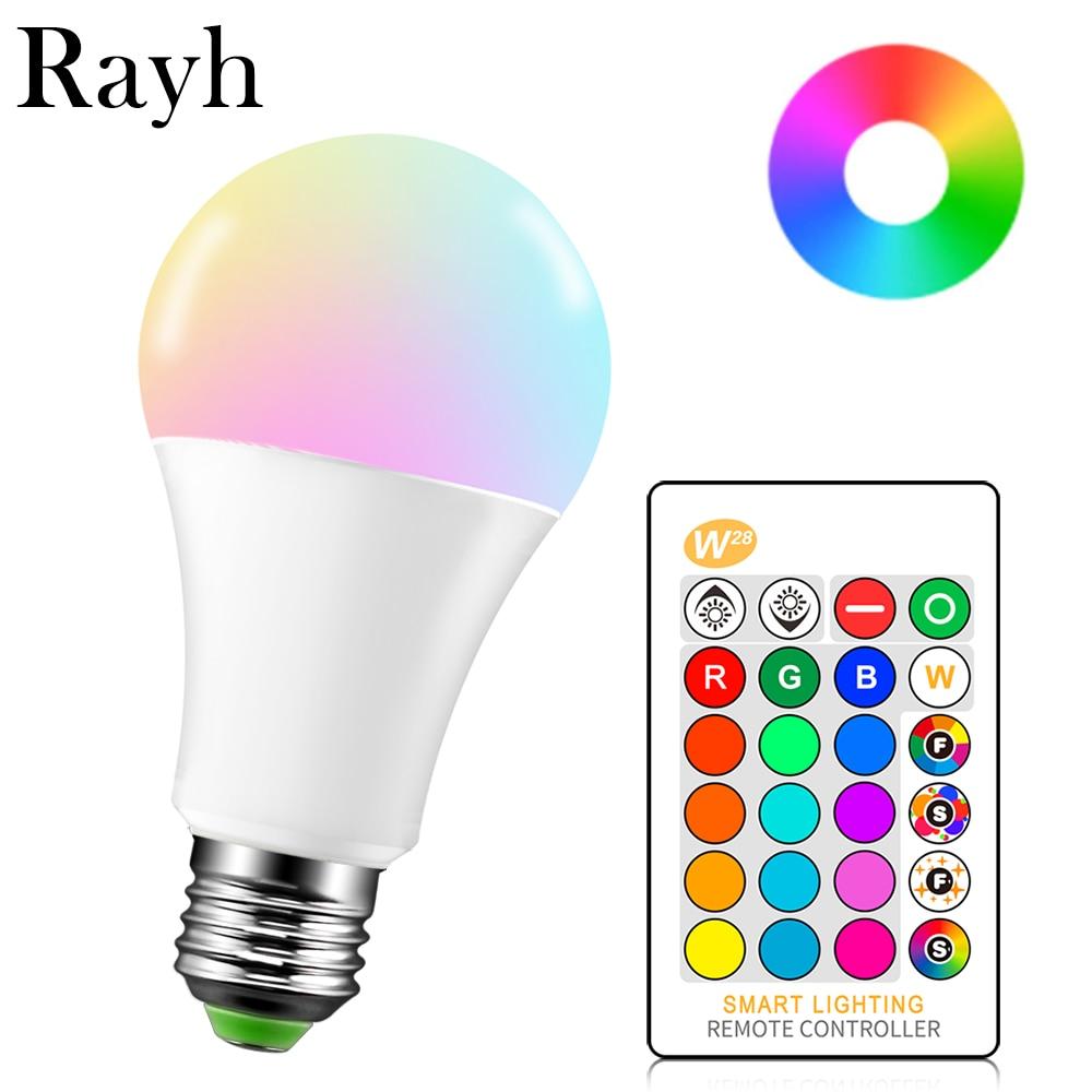 E27 LED 16 Color RGB Magic Light Bulb Lamp 5/10 / 15W 85-265V 110V 220V LED Remote Intelligent Light + Infrared Remote Control