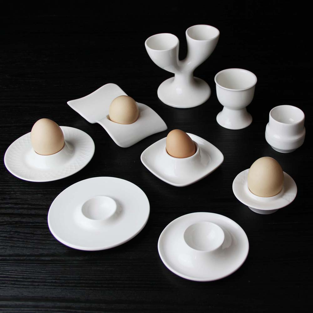 Restaurant Hotel Porcelain Egg Holder For Modern Home Ceramic White Egg Cup Egg Tray Creative Dinnerware Set
