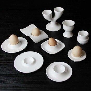 Restaurant hotel porcelain egg holder for modern home ceramic white egg cup egg tray creative dinnerware set Маникюр