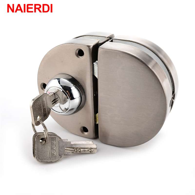 NAIERDI Double Glass Door Lock 304 Stainless Steel Double Open Frameless Door Hasps For 10-12mm Thickness Furniture Hardware 4pcs naierdi c serie hinge stainless steel door hydraulic hinges damper buffer soft close for cabinet kitchen furniture hardware