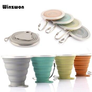 Tazas plegables de silicona de 250 ML, taza de café plegable, taza de té retráctil de viaje con tapa a prueba de polvo, taza de agua deportiva para exteriores