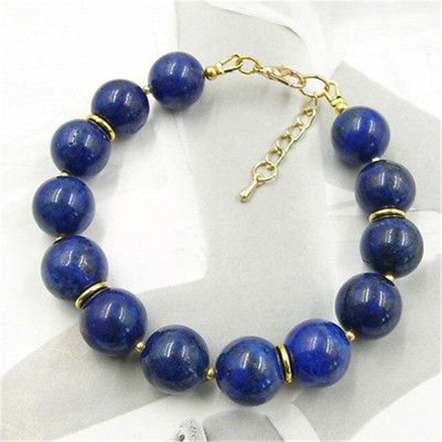 Vintage Classic Natural Stone Jewelry Elegant Noble New Design Lapis Lazuli Beaded Chain Strand Bracelet  20 cm