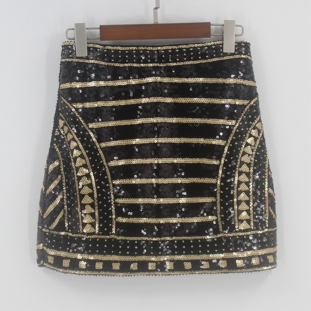 967504be3609 Bling Vintage 1920s Great Gatsby Party Skirt High Waist Geometric Striped Baroque  Skirt Embroidery Beading Sequin Pencil Skirt
