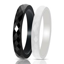 3mm Width Simple Ceramic Rings For Women Ceramic Coupons Rings White&Black Fashion Wedding Engagement Ring