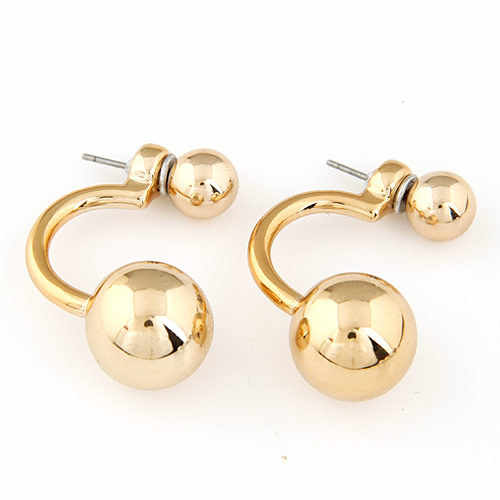 LEMOER New Star Style Korean Luxury Accessories Fashion Gold Color Double Two CCB Round Ball Stud Earrings 5colors Available
