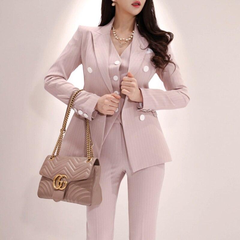 Traje de chaleco A Rayas de estilo de negocios de moda para mujer de oficina de 3 piezas traje Formal de fiesta trajes para uniforme de bodas-in Conjuntos de mujer from Ropa de mujer    3