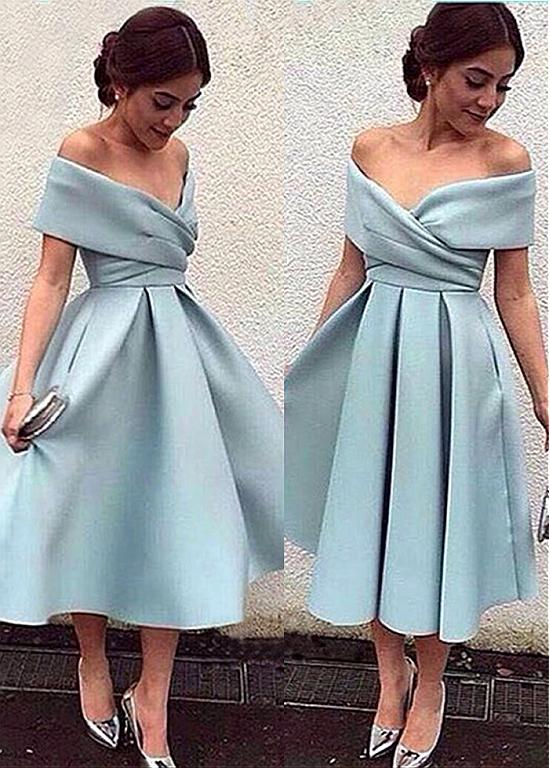 2019 New Blue Satin A-line Short   Cocktail     Dresses   Off the Shoulder Vintage Tea Length Women Girls Informal Party Gowns