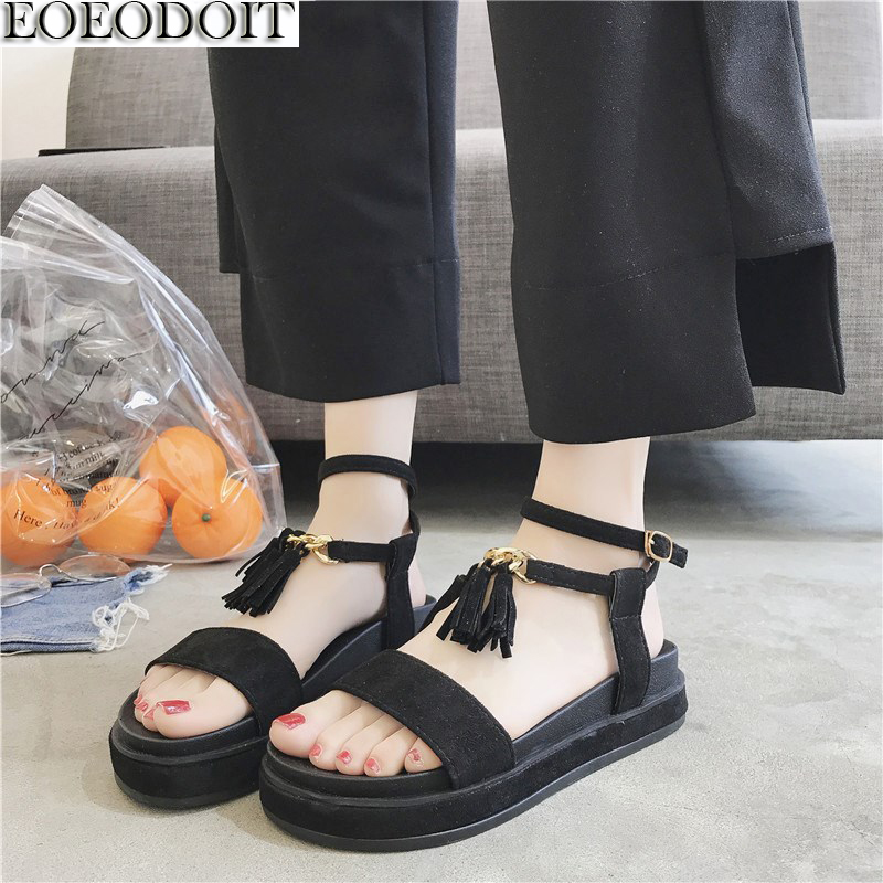 EOEODOIT Summer Sandals Platform Leather With Tassel Shoes Women Elevator Inner Height Increasing Sandals