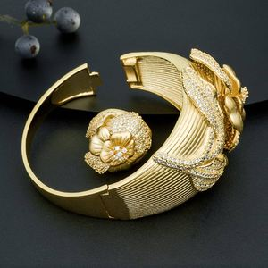 Image 5 - ModemAngel Fashion Design Flower Shape Jewelry Accessories Bangle And Ring Set for Women 3 Tones High Quality Gift