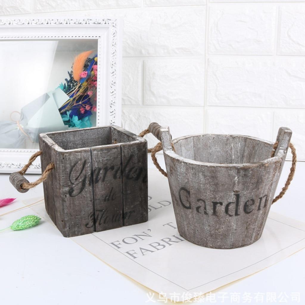 Rustic Wooden Succulent Pots Planters / Flowers Buckets Planter Round/ Oval Landscape Flower Pot Succulents Plants Pot Holder