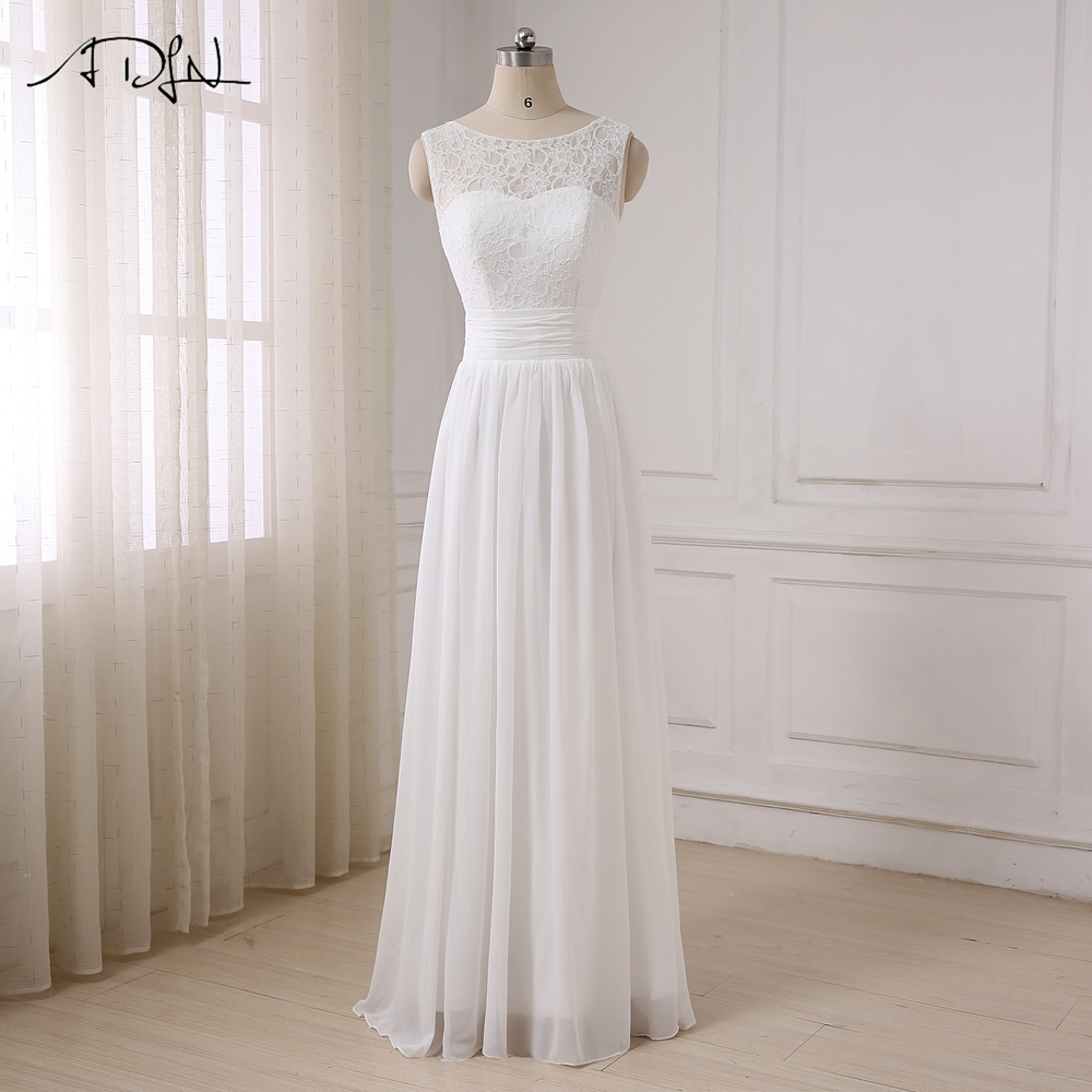 ADLN Chiffon Beach Bohemian Wedding Dresses Scoop Sleeveless Cheap Lace Bridal Gowns Plus Size Robe de