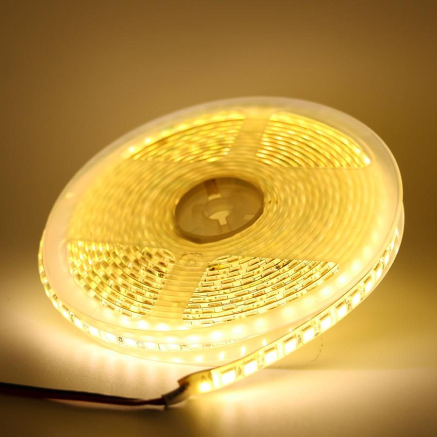 Tira de luz LED Flexible 5054 SMD 120Led/m 1/2/3/4/5 M cinta Led impermeable DC 12V para cocina blanco cálido más brillante que 5050 Nueva Ronda empotrado Led marco luz de techo de Led luz para MR16 GU10 Copa Led bombillas de Dia50mm