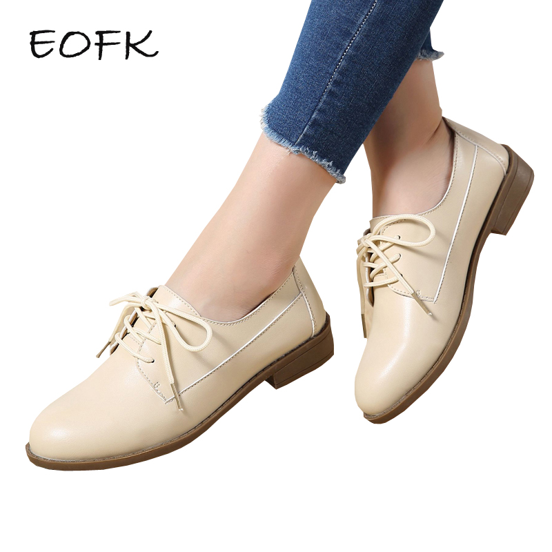 c3b63957132 EOFK Women Derby Shoes Women's Leather Shoes Spring Autumn Lace Up Concise Causal  Flat Shoes Woman