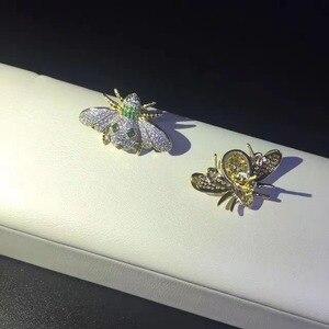 Image 2 - 925 Sterling Zilver Met Cubic Zirkoon Bee Stud Oorbel Fijne Vrouwen Sieraden Gratis Verzending