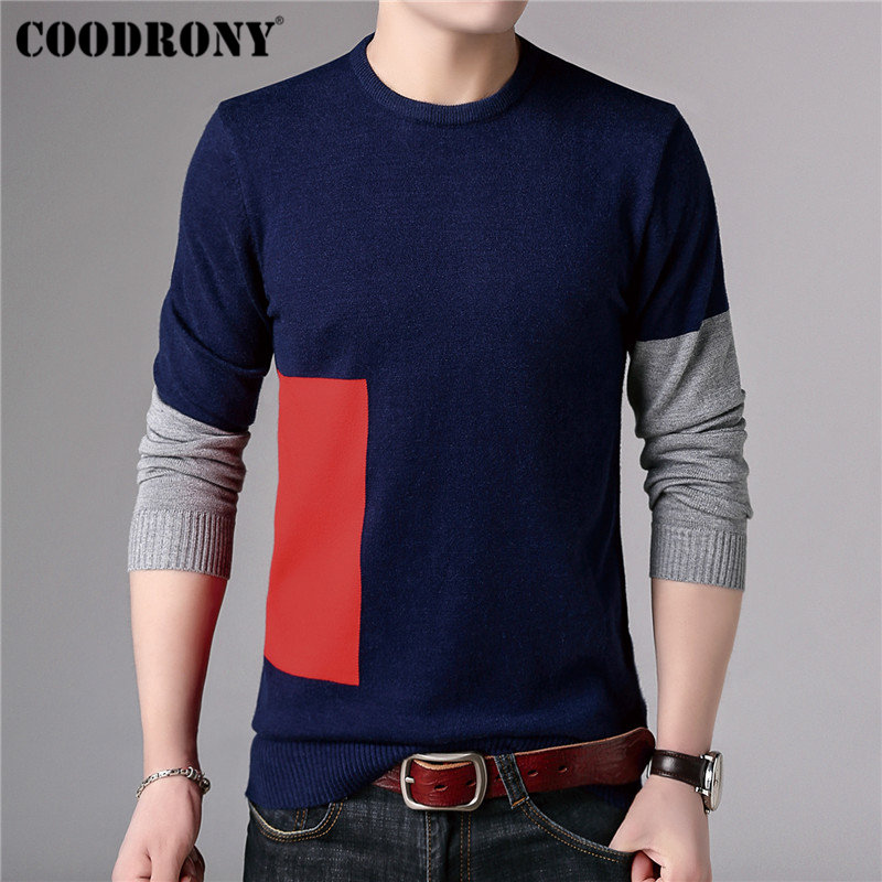 COODRONY Casual O-Neck Pull Homme Long Sleeve Knitwear Cotton Sweater Men Clothes 2018 Autumn Winter Soft Wool Pullover Men B014