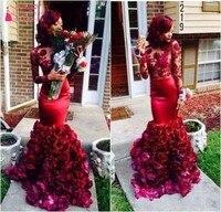Новый иллюзия винного цвета, выпускное, в африканском стиле платья Длинные рукава с аппликацией цветы ручной работы Русалка арабский индий
