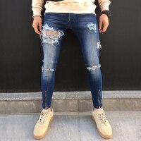 2018 Men's Ripped Jeans Skinny Trousers Casual Fashion Zipper Designed Denim Pants High Quality Hole Street Biker Jeans For Men