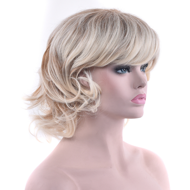 Soowee 2 Colors Curly Short Blonde Wigs Cosplay Wigs Synthetic Hair