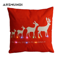 Christmas Beer Flax printed LED  Cushion Cover Christmas Reindeer Pattern Decorative Throw Decorative Pillows For Home 45Cm*45Cm недорого
