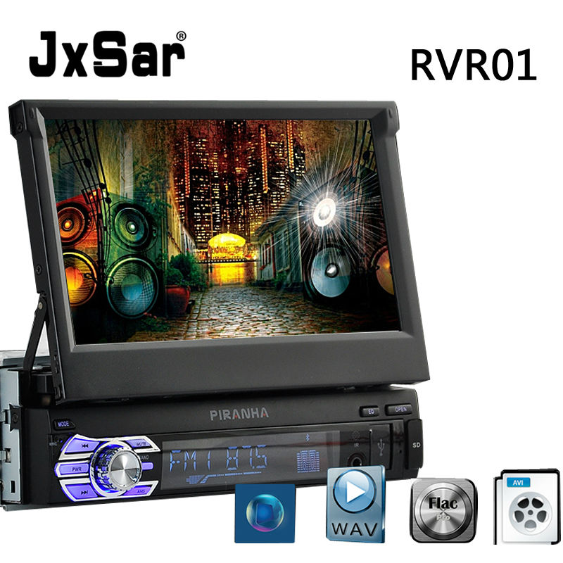 1 DIN Stereo Car Radio MP4 GPS Navigation Double Screen HD 7 inch Retractable Touch Screen