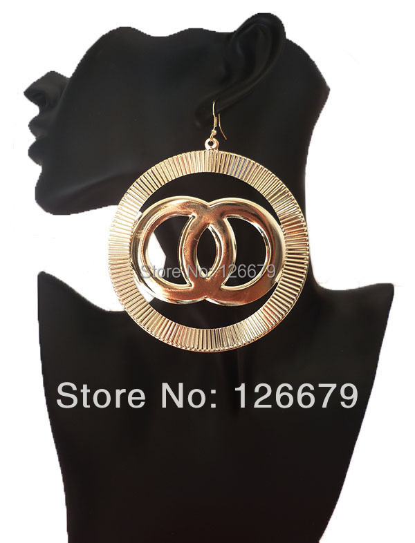 2018 Latest Arrival Fashion America Europe Gold Color Big Drop Earrings Designs for Women