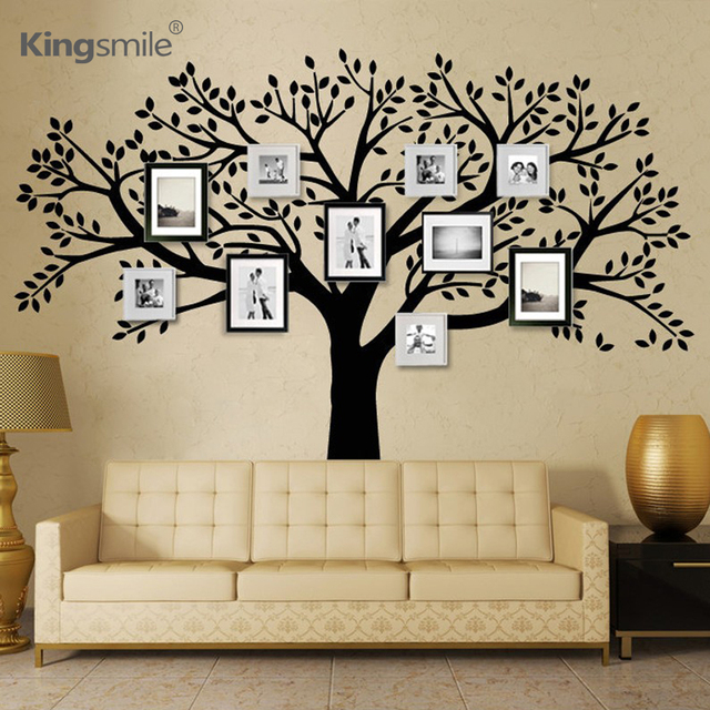 Huge Family Photos Tree Vinyl Wall Stickers Black Tree Branches Decals  Wallpaper Wall Sticker For Living