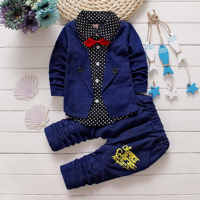 2017 Boys Spring Two Fake Clothing Sets Kids Boys Button Letter Bow Suit Sets Children Jacket + Pants 2 pcs Clothing Set Baby