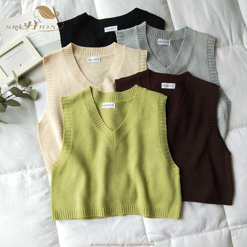 Sishion 2020 primavera outono vintage sem mangas com decote em v colete de malha camisola feminina qy0257 sólido pullovers senhoras casual regata