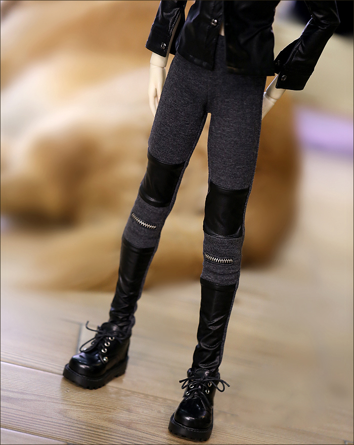 D01-P069 Children Handmade Toy 1/3 1/4 Doll Accessories BJD/SD Doll Clothes Leather Stitching Stretch Pants 1pcs