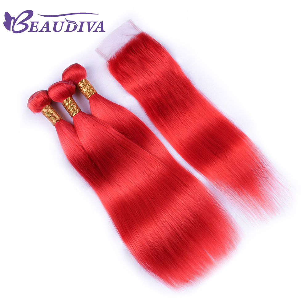 Beaudiva Hair Malaysia Straight Hair Human Hair 3 Bundles With Closure Free Part RED Remy Hair