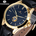 2017 FORSINING popular brand luxury automatic self wind watch skeleton black dial transparent back case genuine leather band