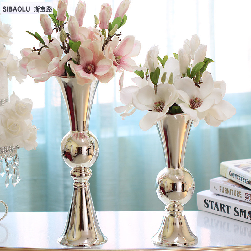 Silver Vase Bouquet Tabletop Metal Plated Decoration Home Dining Table Decor