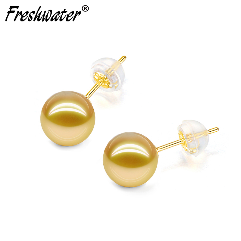 Real 18k gold earrings for women,big wedding round SouthSea gold pearl earrings anniversary gift